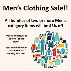 Men's clothing sale 45% off of two or more items